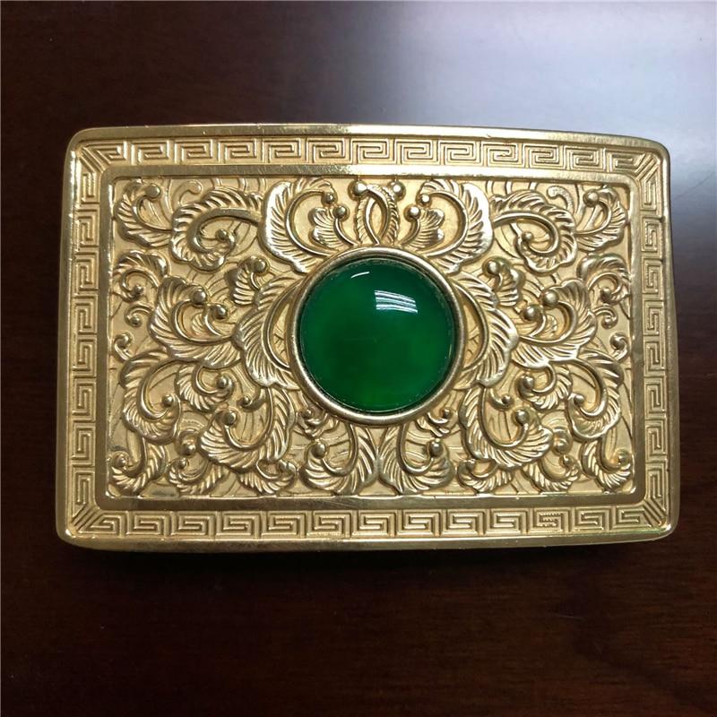 Vintage Antique Pure Brass Copper Big Belt Buckle Flower with Jade Cowboy Mens Fashion Gift