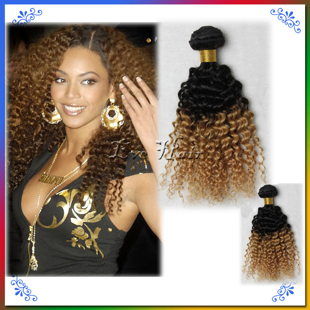 Two Tone T1b27 2 Pcs Brazilian Blonde Kinky Curly Hair Extensions