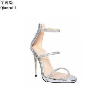 Sandales Blinged | Qianruiti Or Argent Cuir Verni Talons Aiguilles Femmes Sandales Rome Style Découpes Femmes Pompes Bling Cristal Chaussures à Talons Hauts