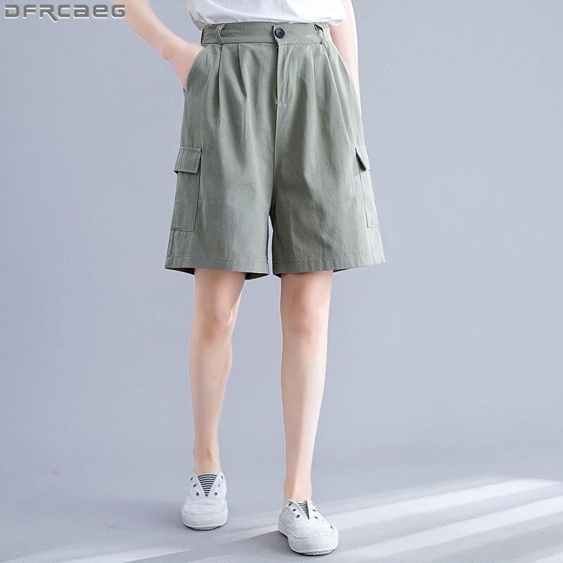 Summer Boyfriend Cargo   Shorts   Women Loose Elastic Waist Plus Size   Short   Pants Vintage Cotton Long   Shorts   Wide Leg   Short   Femme