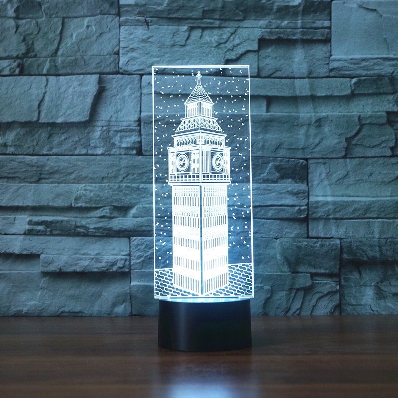 3D Led Big Ben Visual Night Light Colorful London Building Elizabeth Tower Table Lamp Bedroom Decor Lighting