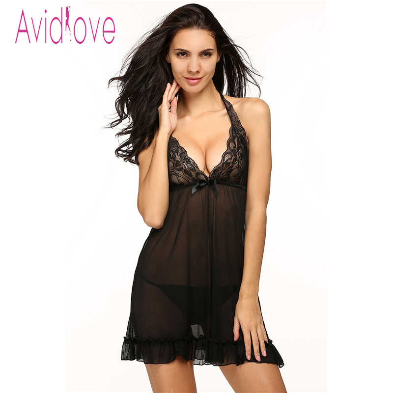 97861fbc3e4 Avidlove Lace Mesh Nightgown Lady Sexy Lingerie Hot Babydoll Dress Backless  Erotic Lingerie Pleated Sleepwear and