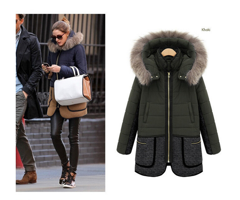 2016 Best-selling  Large size XXL-5XL Women's Navy And Khaki Coak Stitching Down Jacket tType Winter Coat w-048