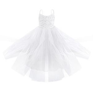 Image 3 - 2020 Girls Mesh Spaghetti Shoulder Straps Flower Girl Dress High waisted Princess Pageant Ball Gown Wedding Party Dress SZ 2 14