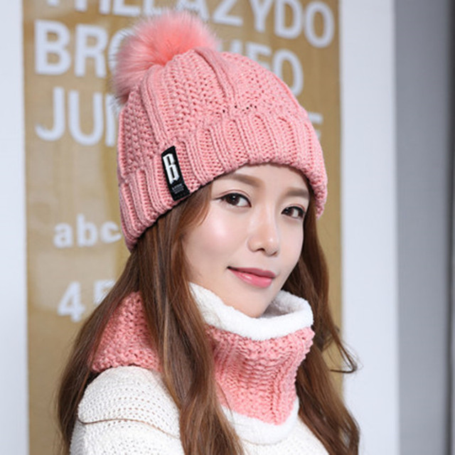 f21859e03ae SANDMAN High Quality Add Wool Fur Pom Poms Winter Hats Skullies Beanies For Women  Wool Scarf
