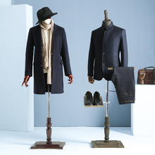 Props half body male mannequin hanger suit formal dress display rack model men's fabric mannequin with wooden arms