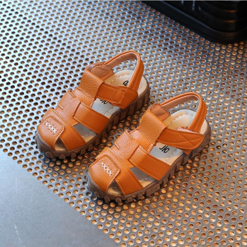 Children Soft Leather Sandals Roman Breathable Flats Shoes Non-slip Sandals Boys And Girls Beach Shoes Kids Comfortable Sandals
