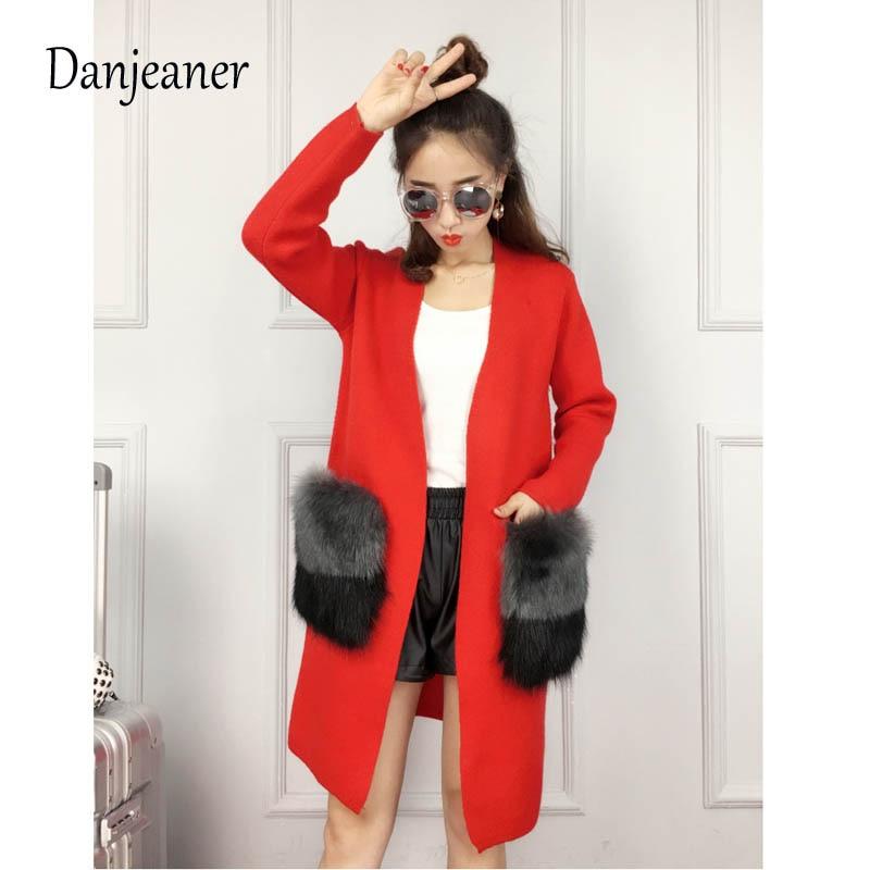 Danjeaner Knitting Sweaters Long Cardigans Big-Fur-Pockets Cashmere Elegant Coats Streetwear