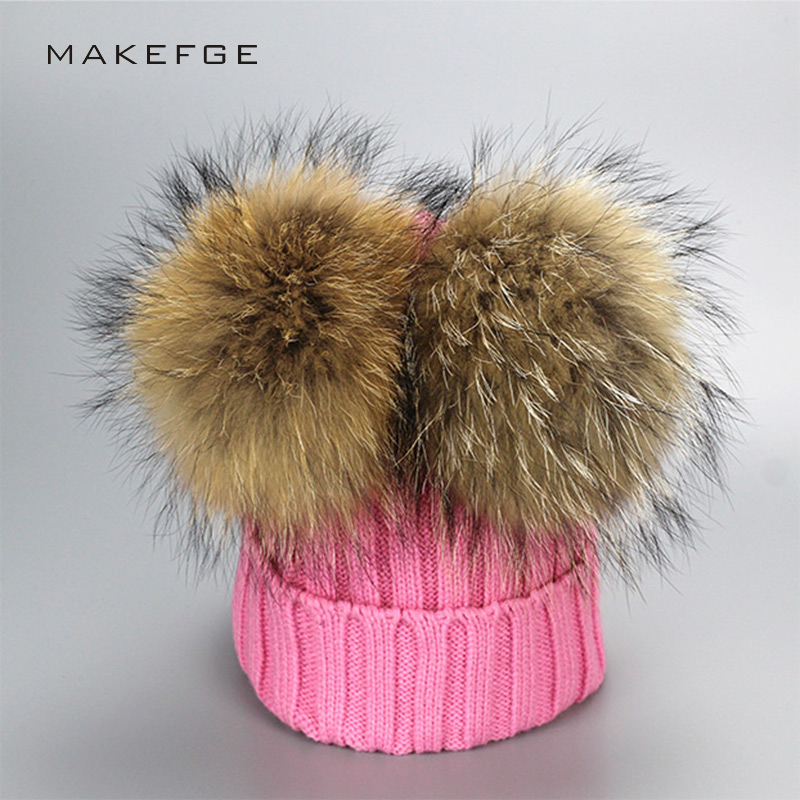 New 2017 Real Raccoon Fur Pompons Women Hat Adult Winter Thick Warm Beanies Knitted Crochet Lovely Bonnet For Ladies Cap Pompom