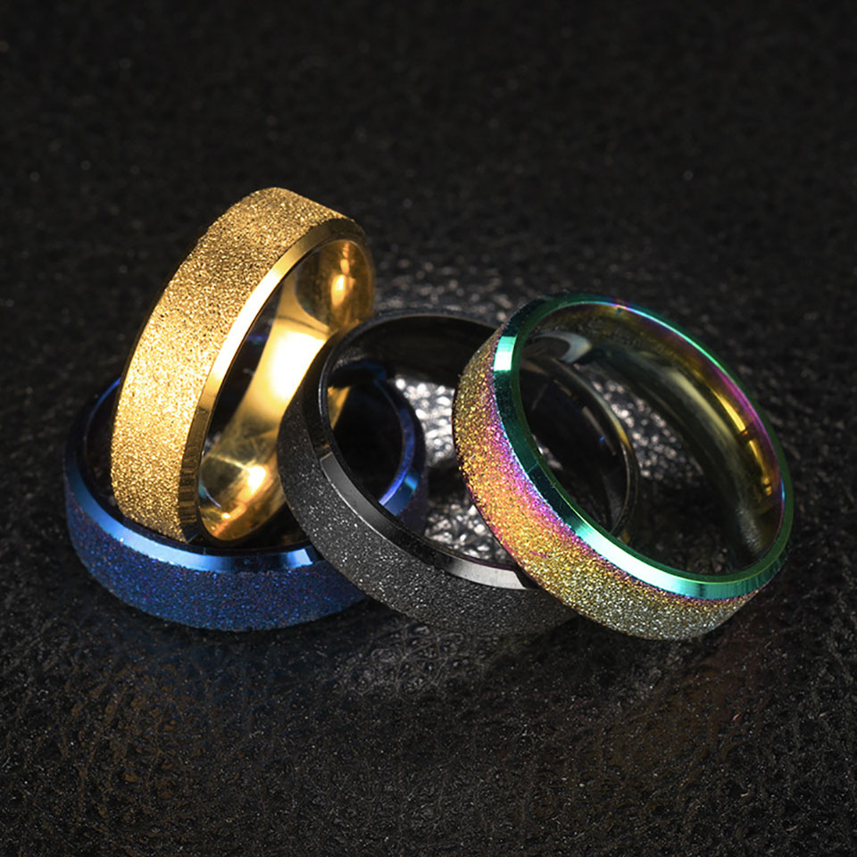 Rose Gold Stainless Steel Rainbow Pride Rings Female Jewlery Trendy Minimalist Blue Colorful Ring Love Couple Anniversary Aneis in Wedding Bands from Jewelry Accessories