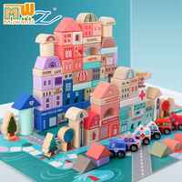 115 Pcs Kids Toys Wooden Toys City Traffic Scenes Geometric Shape Assembled Building Blocks Early Educational Toys For Children