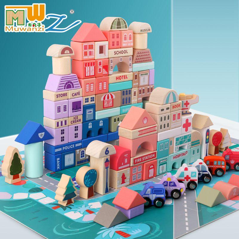 115 pces criancas brinquedos de madeira cidade cenas trafego forma geometrica montado blocos de construcao cedo