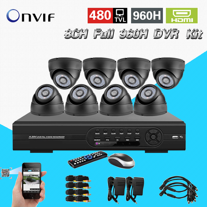 TEATE 8CH Full 960H DVR Kit 8CH Full  recording H.264 CCTV standalone DVR recorder 8pcs 480TVL IR night vision cameras  CK-075 new dvr 4 channel h 264 4ch full d1 real time recording support network mobile phone cctv dvr recorder 4ch security dvr