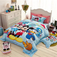 Disney Minnie Mickey Mouse Bedding Set Single Queen Size Cartoon Duvet Cover Flat Sheet Pillow Cases Lovely Bed Linen Set(China)