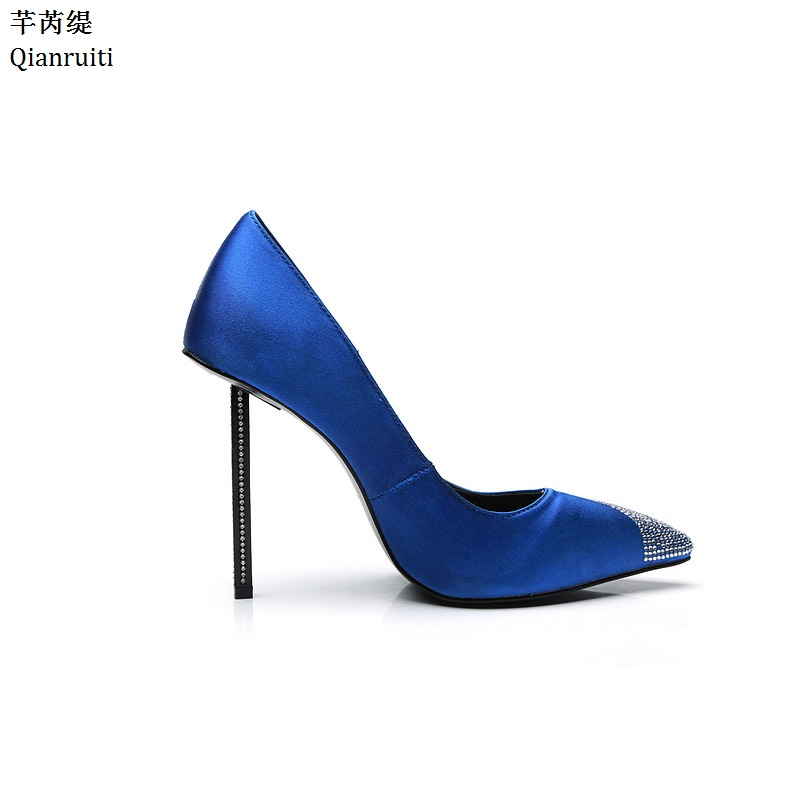 Qianruiti Royal Blue Stiletto Heels Women Pumps Sexy Pointed Toe Women Shoes Studded Crystal High Heels Bridal Wedding Shoes qianruiti royal blue stiletto heels women pumps sexy pointed toe women shoes studded crystal high heels bridal wedding shoes