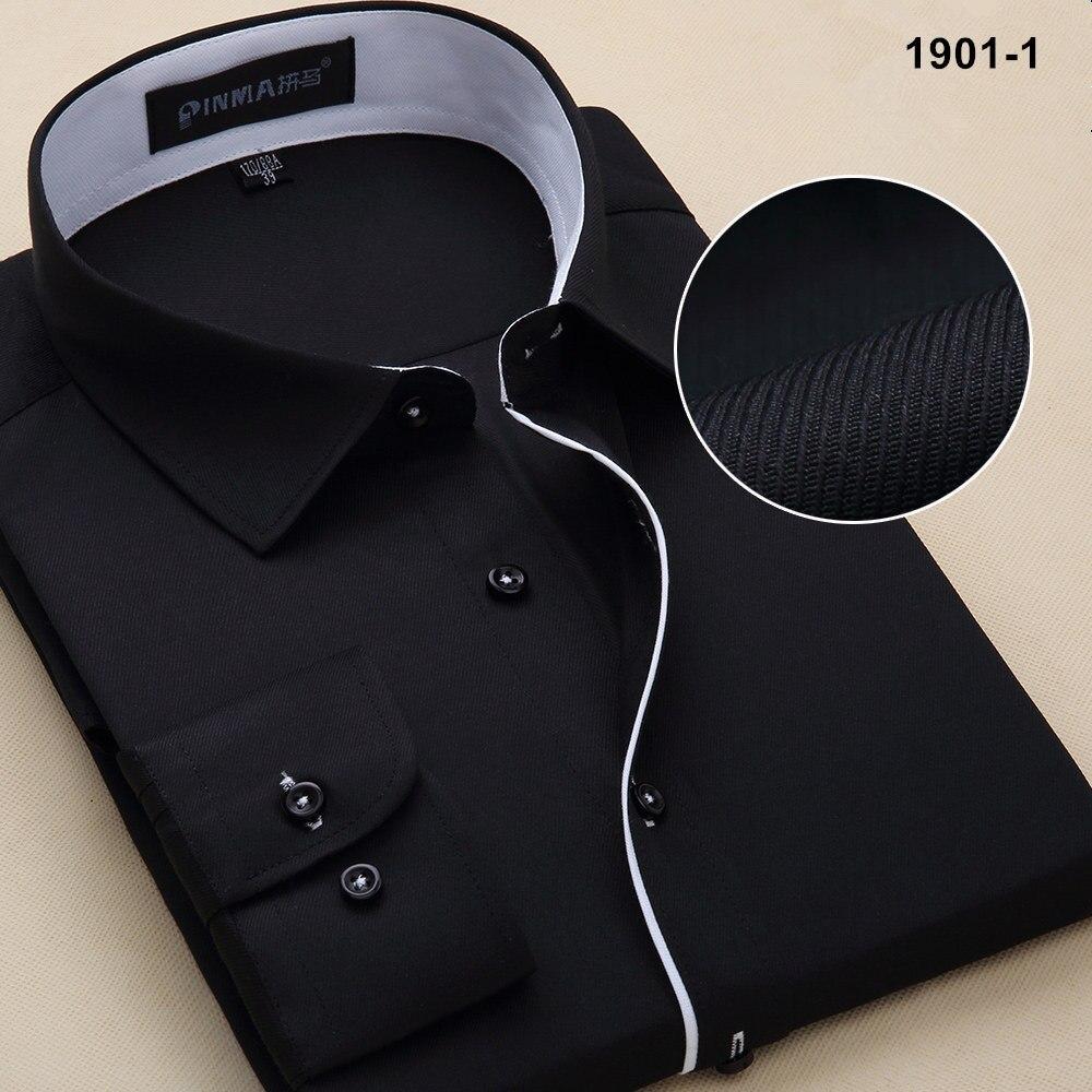 Новое поступление, весенняя и осенняя мужская брендовая одежда, одноцветная мужская приталенная рубашка с длинным рукавом, мужские рубашки, деловые рубашки - Цвет: 19011