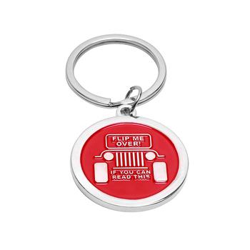 Modny czarny czerwony przycisk łańcucha dla entuzjastów jeepa dla jeepa #8222 odwróć mnie jeśli możesz przeczytać ten #8221 prezent dla każdego właściciela jeepa tanie i dobre opinie ARMSKY CN (pochodzenie) 2 83inch STAINLESS STEEL Breloki Gift For Any Jeep Owner 2 5inch 200000687