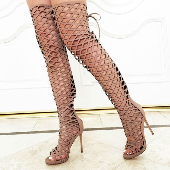 2017 newest cutouts lace-up thigh high boots sexy open toe over the knee high heel boots summer sandal boots gladiator boots sexy black high heels gladiator shoes woman peep toe lace up thigh high boots summer cutouts feminine boot over the knee sandal
