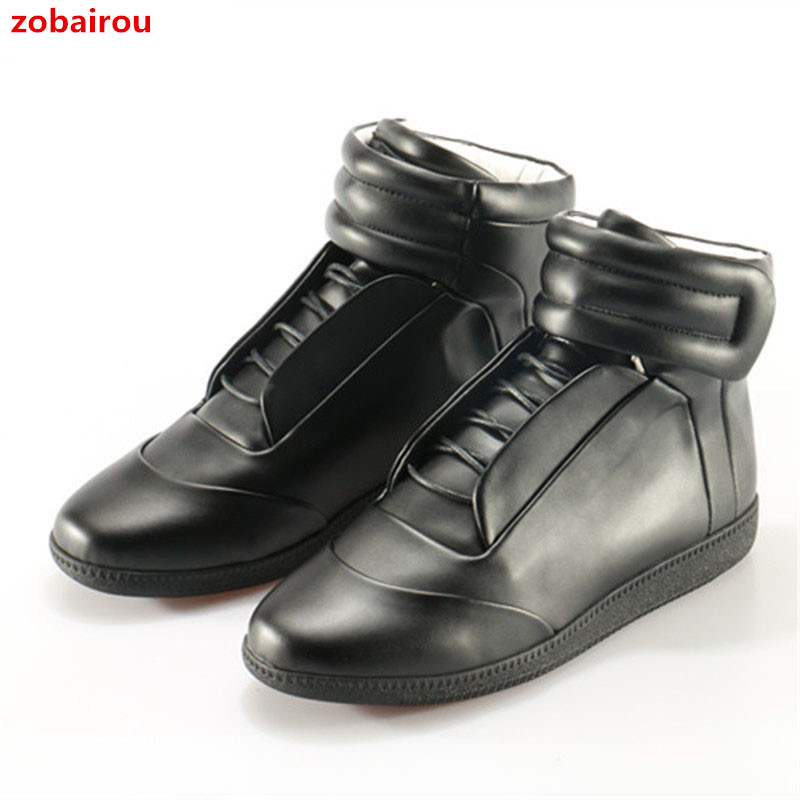 Brand Mens High-Top Casual Shoes Fashion Genuine Leather Trainers Zapatos Hombre Hook&Loop Sneakers Muti-Colors Big Size 46 high quality 2016 new design unique genuine leather men shoes zapatos hombre snake luxury brand formal casual mens loafers shoes