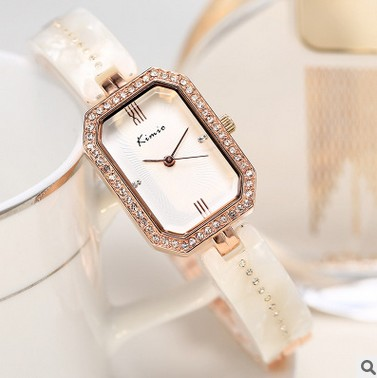 цена на KIMIO Luxury Brand Women Watches Jewelry Rhinestone Rectangle Fashion Lady Watch Casual Ceramics Clock Waterproof Quartz Watch