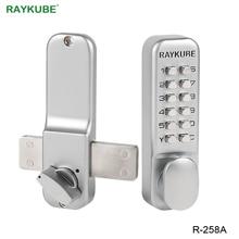 Raykube senha digital fechadura da porta mecânica todo o tempo à prova dwaterproof água fechadura da porta liga de zinco R 258A