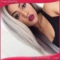 7A горячая распродажа серебристо-серый человеческих волос парики бразильский полный парики / передний парик человеческих волос с ребенком волос для белый / черный женщины