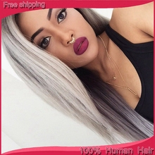 7A Hotsale silver grey human hair wigs Brazilian full lace wigs/front lace wig human hair with baby hair for white/black women