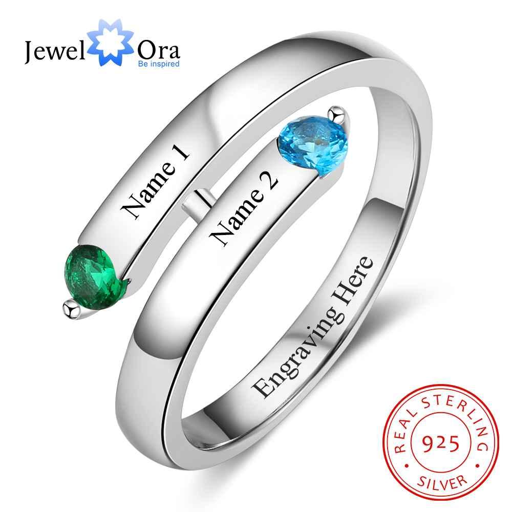 Персональный подарок на заказ Гравировка 2 названия и камень обещание кольцо 925 пробы серебро юбилей ювелирные изделия (JewelOra RI103272)