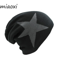 New Casual Knit Women Big Star Winter Hat Warm Fashion Knitting Cap For Woman Male Beanie
