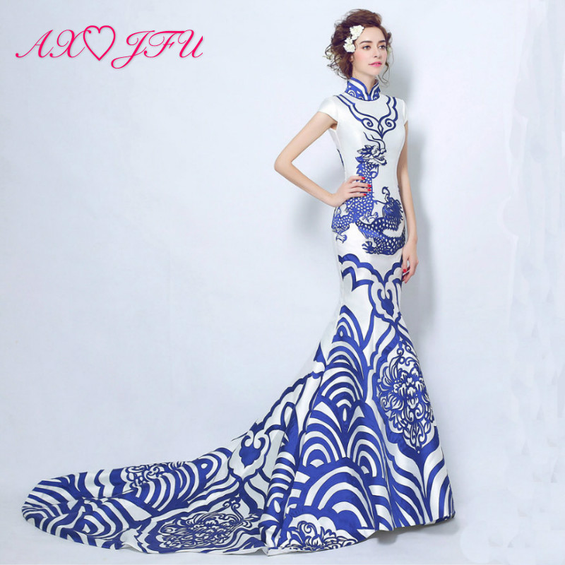 AXJFU Chinese - style bride evening dress fish tail - tail evening dress dinner party performance evening dress 5029