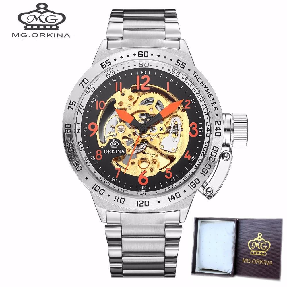fd99faefd17 ORKINA Mostrador Grande Relógios Esqueleto de Aço Inoxidável dos homens de  Pulso Mecânico Automático Auto-