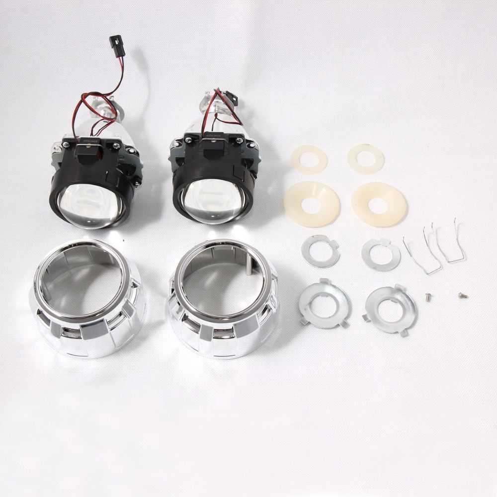 2.5 pouces universel Bi xenon HID projecteur lentille H1 xénon LED ampoule pour H4 H7 moto voiture phare