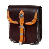 Women Men Handbags Cow Leather Messenger Shoulder Belt Turquoise Button Bag Vegetable Tanned Leather Waist Bags