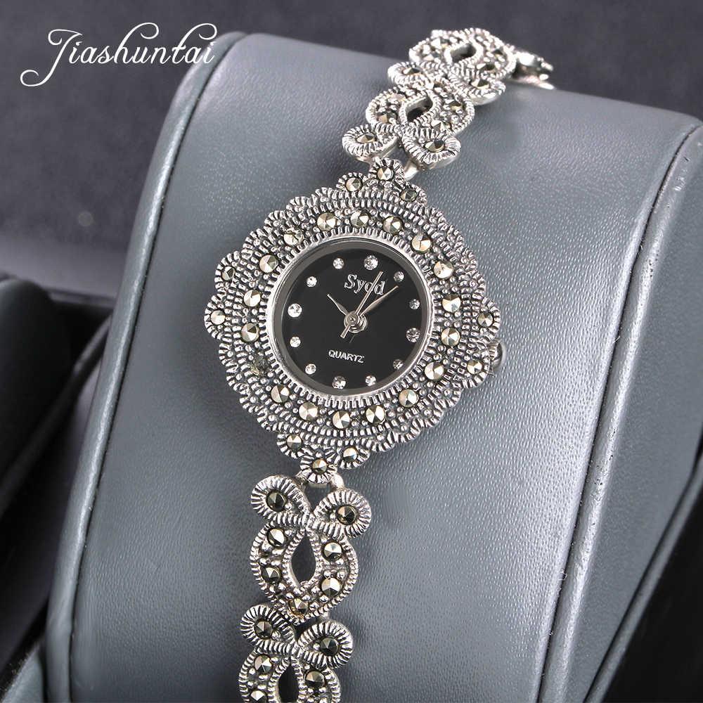 0d4b4a51 JIASHUNTAI Винтаж 100% Серебро 925 часы для женщин Ретро 925 пробы  серебряные часы Женская мода