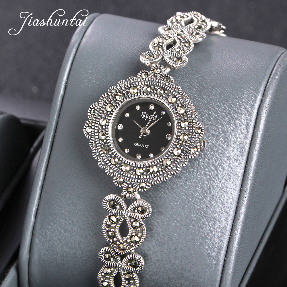 где купить JIASHUNTAI Vintage 100% Silver 925 Watch For Women Retro 925 Sterling Silver Clock Female Fashion Bracelets Watch Jewelry дешево