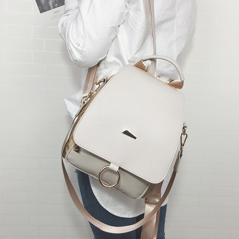 2019 New Female Backpack Shoulder Bag Women Messenger Pu Leather And Nylon Backpack College Simple Retro Leisure Ring Bag 092