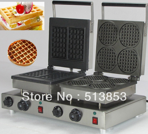 Free Shipping,High Quality Doulbe-Head  Electric Square Waffle +Round Waffle Maker Machine Baker free shipping high quality doulbe head electric cream cone round waffle maker machine baker