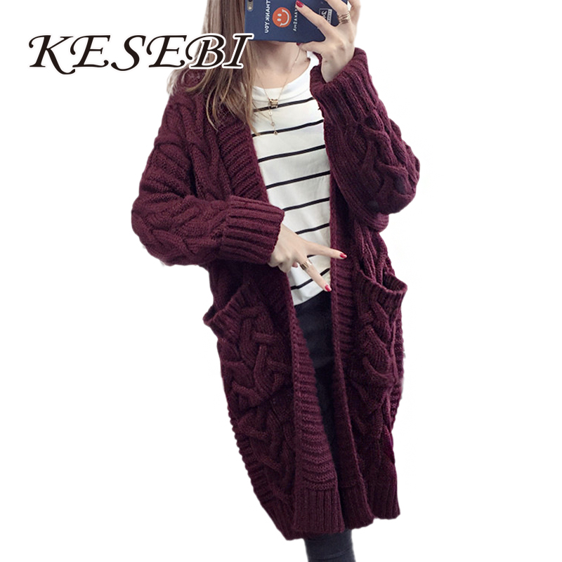 Kesebi 2017 Autumn Winter Female Solid Color Long Sleeve Cardigans font b Women b font Thick