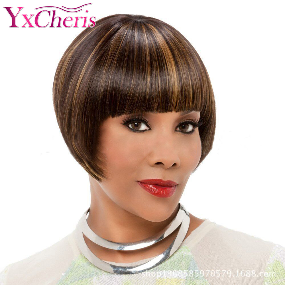 Pixie Cut Wigs Female Short Hair Wig Brown Mixed Color Heat Resistant Fiber Synthetic Short Straight Bob Wigs For Black Women