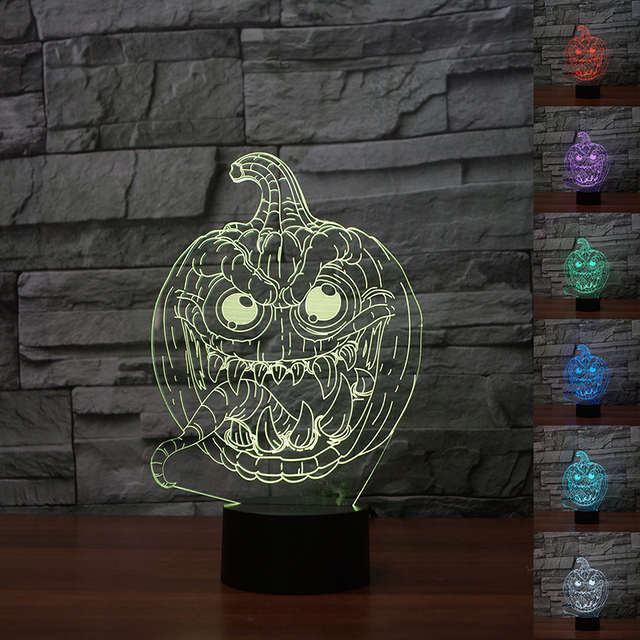 pumpkin monester 3d optical illusion lamp nightlight for halloween party decor 7 color changing atmosphere light