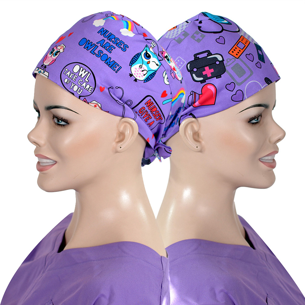 Purple Medical Case Print Women's Medicine Hat Surgical Scrubs Cap Handmade 100% Cotton With Sweatband Pathologists Work Hats