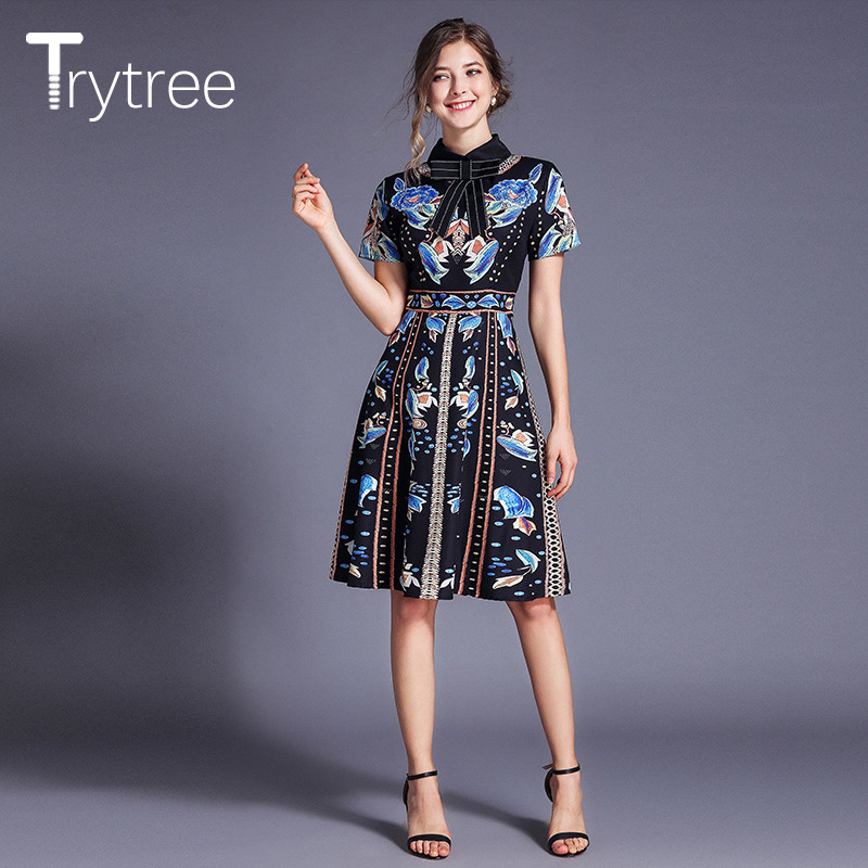 Trytree Summer Autumn Casual Dress Print Floral Beading Polyester Bow Collar Women Dresses A-Line Knee-Length High Street Dress