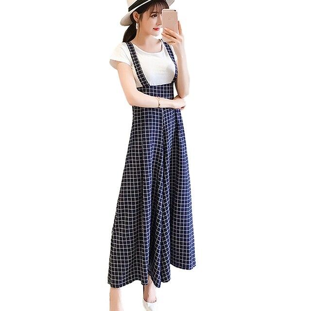 6b5751cb933 2018 Summer Plaid Wide Leg Pants Women High Waist Suspender Strap Pants  Plus Size Trousers Women