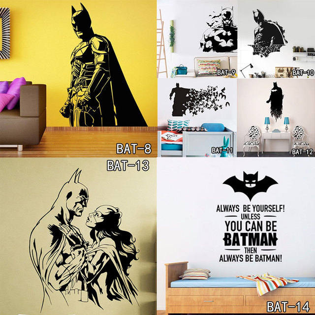 Batman Super Hero Vinyl Wall Art Sticker Poster Wallpaper Children Themed Room Decals Wall Stickers for Boys and Kids Room