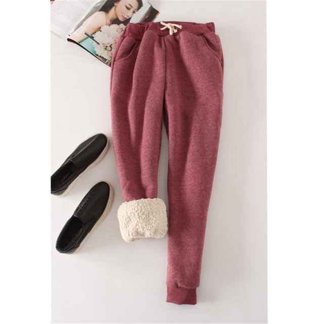Autumn Winter Women Long Trousers Warm Thick Velvet Harem Pants Female Elastic Waist Sweatpants Fleece Cotton Casual Pant AB658 3