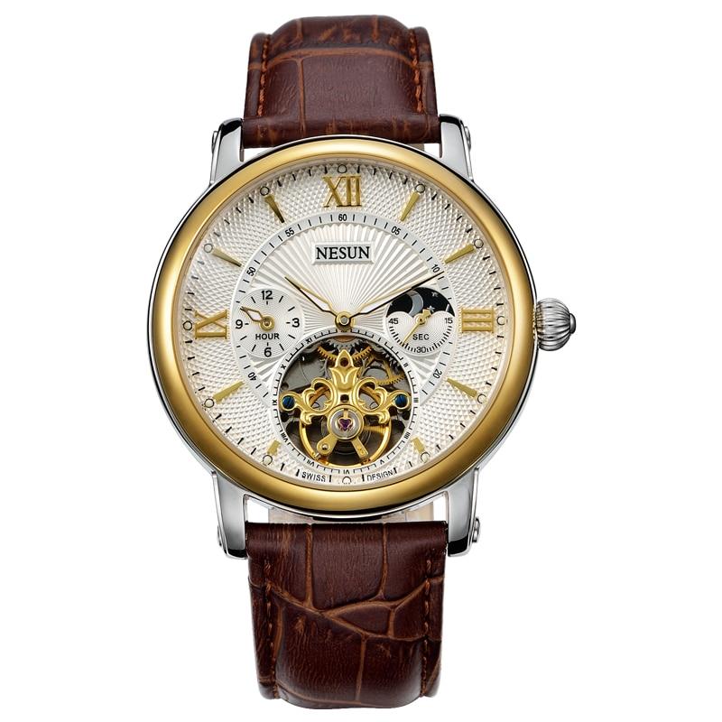 Suisse Nesun creux Tourbillon montre hommes de luxe marque automatique mécanique montres pour hommes saphir étanche horloge N9091 1-in Montres mécaniques from Montres    2