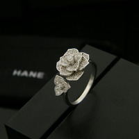 Bilincolor fashion rose double flower 925 sterling silver open rings for women