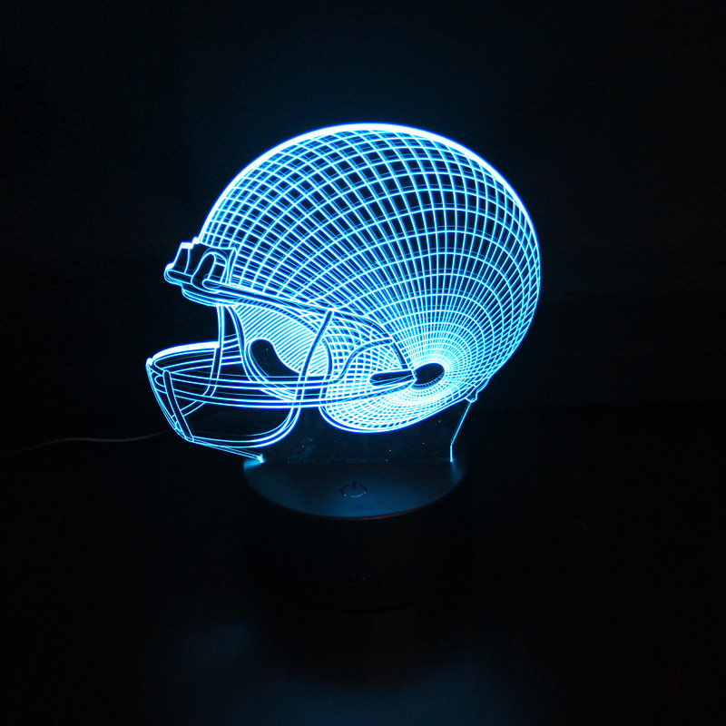 3D LED night light Touch switch 7 color changing USB desk Lamp Oakland Raide football cap helmet Team Logo valentines day gift