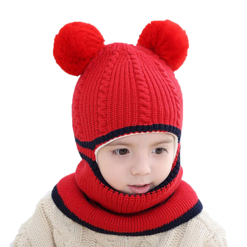 dba9116c361 Beanie Warm Hat Kids Children Knitted Hooded Scarf Winter Circulal Knit  Striped Pom Pom Earflap Cap Scarves Child Accessories