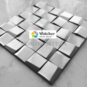 Hohe qualität Edelstahl Metall Mosaik-fliesen Silber Weiße ...